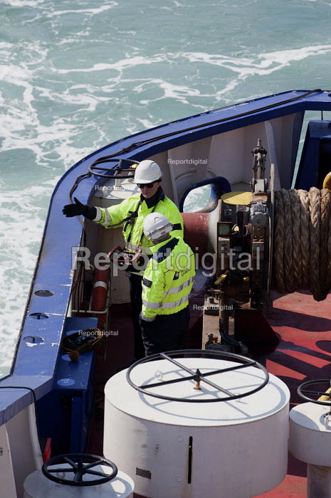 DFDS Seaways staff on a cross channel ferry approaching Dunkerque harbour - Timm Sonnenschein - 2013-03-29