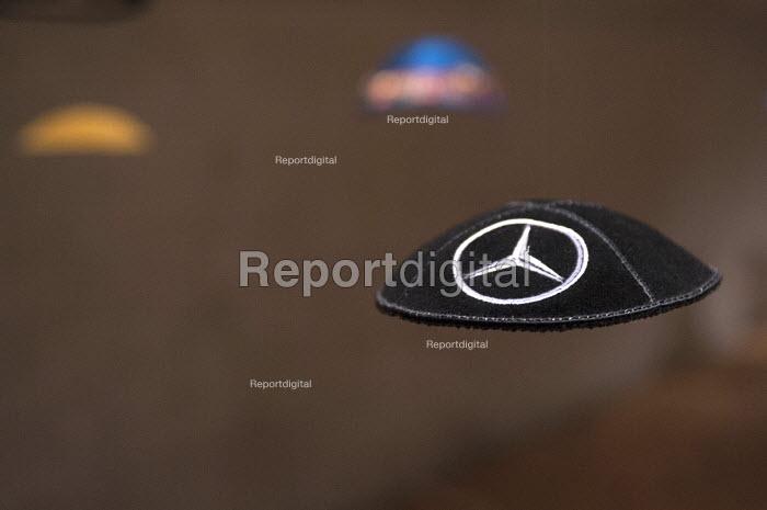 Mercedes Benz logo Kippah or Yarmulke, Jewish Museum, Berlin, Germany - Timm Sonnenschein - 2013-04-06