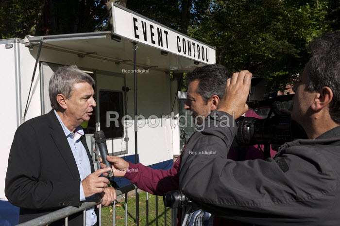 Dave Prentis UNISON giving an interview. Save Our NHS Demonstration during the Conservative Party Conference, Manchester. - Timm Sonnenschein - 2013-09-29