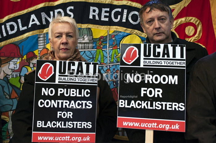 Cheryl Pidgeon, UCATT regional secretary during a �Midlands TUC and UCATT day of action against blacklisted trades union members protest outside the �Sir Robert McAlpine office in Birmingham - Timm Sonnenschein - 2013-11-20