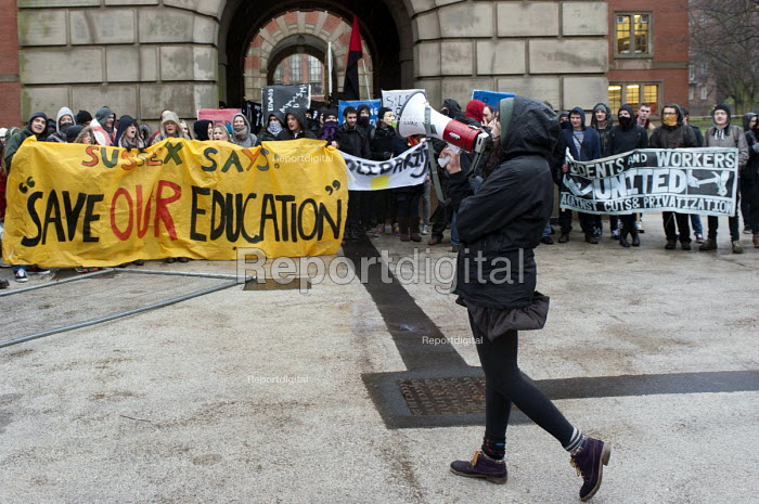 National Student Protest for free education, against cuts and the privatisation of student loans, University of Birmingham campus - Timm Sonnenschein - 2014-01-29