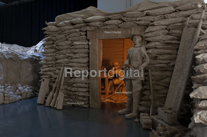 Battle of the Somme, life size WW1 trenches, a paper installation by first year Theatre, Performance and Event Design students, Birmingham City University - Timm Sonnenschein - 2014-02-06