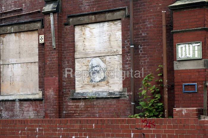 Karl Marx poster on an abandoned building, Moseley, Birmingham - Timm Sonnenschein - 2014-07-11