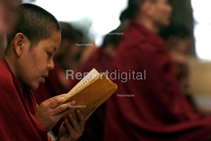 A nun reads through the scriptures at the prayer congregation of the Namgyal monastery in McLeod Ganj, Dharamsala, India. Mcloedganj is been the seat of the Tibetan exile government since 1959. With the Chinese aggression, the Dalai Lama and many of his followers fled to India, where they were located in several parts of India, which today has transformed into neat tibetan settlements, with life centring around Buddhism. - Tashi Tobgyal - 2007-10-11