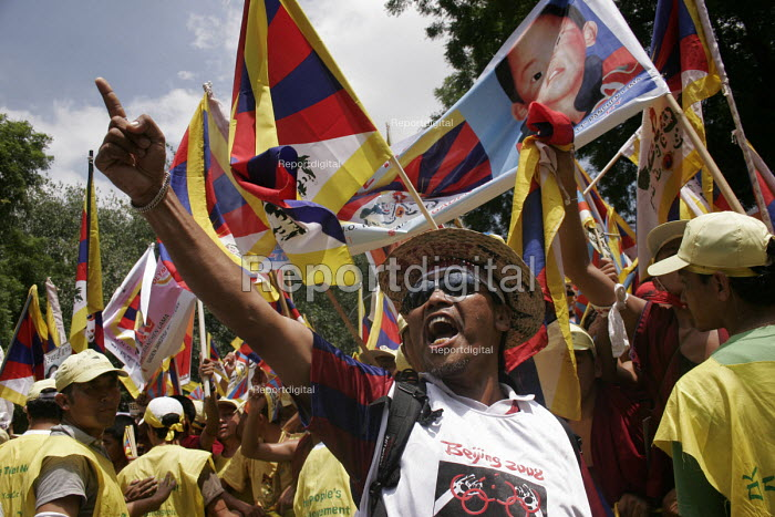 The Tibetan demonstration, focused on the violation of human rights inside Tibet and against the Beijing Olympics 2008. - Tashi Tobgyal - 2007-11-28