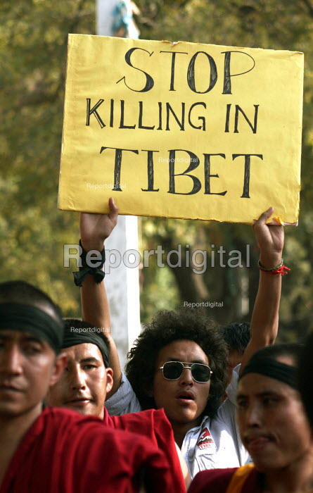 Following the incidents in Tibet, Tibetan exiles in Delhi protest for rights in Tibet and for the immediate release and just treatment of those arrested in Tibet. Over the past few days exiles all over the world have protested as the Beijing Olympics nears. - Tashi Tobgyal - 2008-03-18