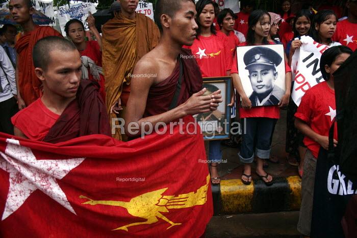 Burmese refugees in New Delhi, protesting against military atrocities within Burma. - Tashi Tobgyal - 2009-02-03