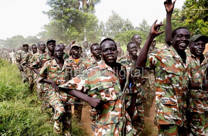SPLA rebel soldiers training in Yei South Sudan. 2005 - Thomas Morley - 2005-11-12