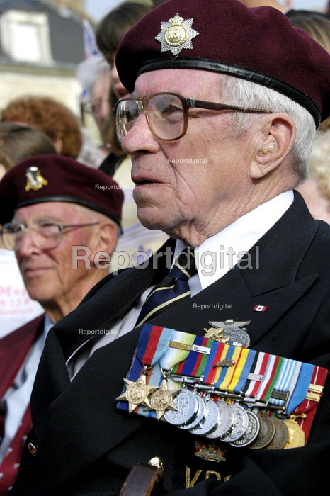 British and Canadian airborne veterans at local small town D Day sixtieth anniversary commemoration ceremony, Trouarn, Normandy, France - Paul Mattsson - 2004-06-06