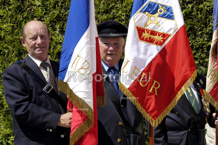 French resistance war veterans at local small town D Day sixtieth anniversary commemoration ceremony, Honfleur, Normandy, France - Paul Mattsson - 2004-06-06