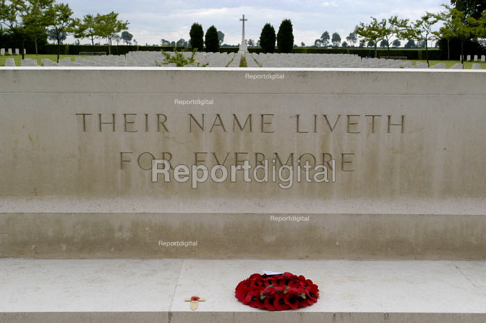 British and Commonwealth war cemetery at Banneville, Normandy, France. The soldiers who are buried here were killed during the battle for Normandy which followed the D Day landings of 6th June 1944. Inscription reads their name liveth evermore - Paul Mattsson - 2004-06-06