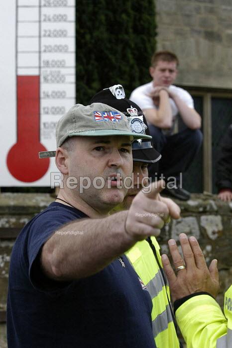 BNP member. Protest against the BNP Red White and Blue festival, Codnor Derbyshire - Paul Mattsson - 2008-08-16