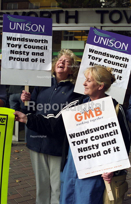 Home Care workers protest outside Wandsworth Town Hall in South London. Organised by Battersea and Wandsworth TUC on publication of their report into the effects of privatisation of the home care service - Paul Mattsson - 2002-10-08