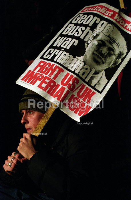 Stop the War Coalition Day of Action, protester outside the Houses of Parliament - Paul Mattsson - 2002-10-31