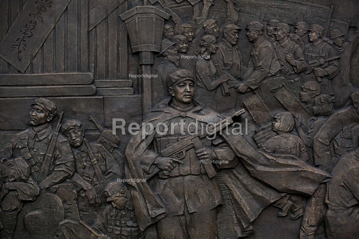 Monument to the Peoples Liberation Army, Communist statues, Peoples Square, Shanghai, China. - Connor Matheson - 2015-09-05
