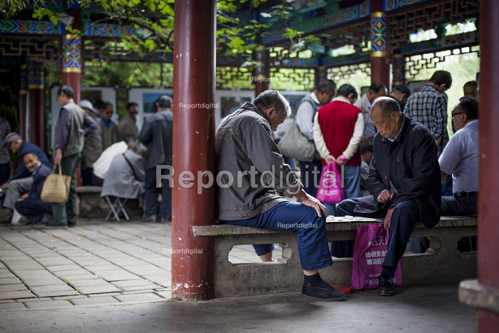 Elderly people gambling and playing games of draughts, Cuihu Park, Kunming, Yunnan Province, China. - Connor Matheson - 2015-09-10