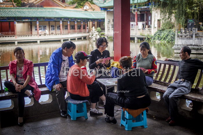 Family and friends gambling and playing games of cards Cuihu Park, Kunming, Yunnan Province, China. - Connor Matheson - 2015-09-10