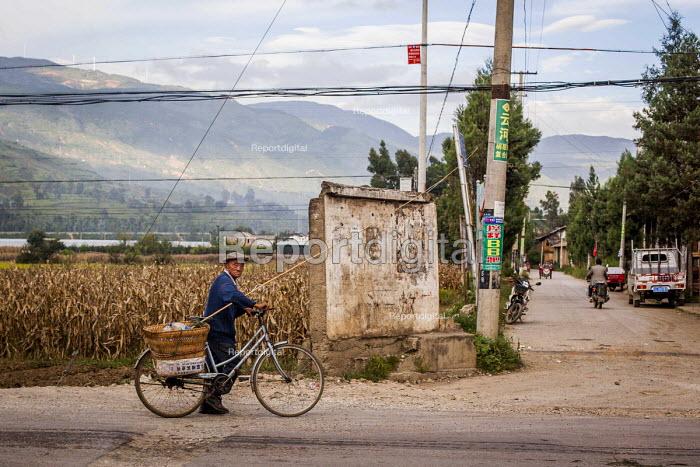 An elderly farmer returning home. Dali, Yunnan Province, China. - Connor Matheson - 2015-09-18