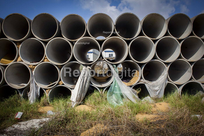 Pipes where refugees have been rough sleeping outside the Hal Far Refugee Camp, Malta. - Connor Matheson - 2015-08-10