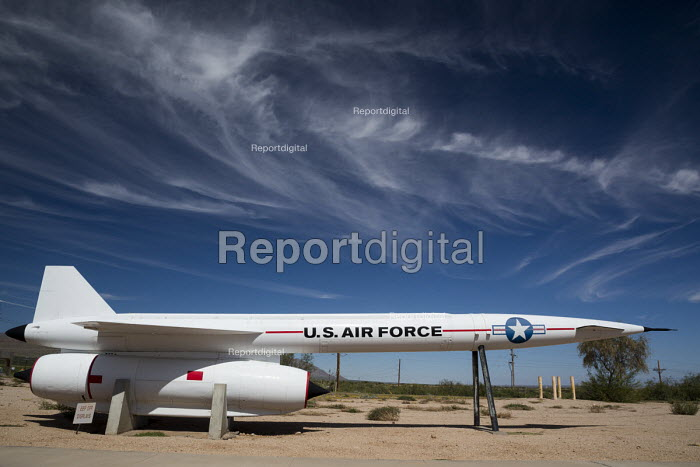 Las Cruces, New Mexico, Air Force Hound Dog missile on display, Missile Park, White Sands Missile Range Museum. Forerunner to the cruise missile it was designed to carry a nuclear warhead and be launched from a B-52 bomber - Jim West - 2015-10-14