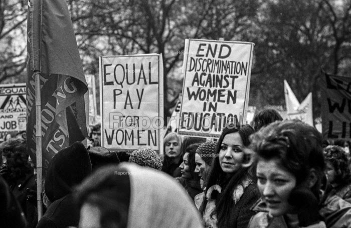 Women's Liberation march, London, Equal pay of women, End discrimination against women in education - Martin Mayer - 1971-03-06