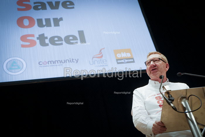 Len McCluskey, Gen Sec Unite speaking Save Our Steel Rally, Sheffield City Hall, Yorkshire - Mark Pinder - 2015-11-21