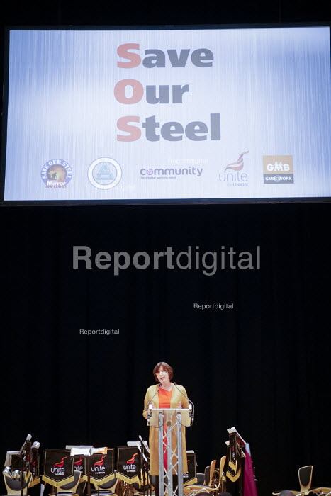 Frances O'Grady, TUC Gen Sec speaking Save Our Steel Rally, Sheffield City Hall, Yorkshire - Mark Pinder - 2015-11-21