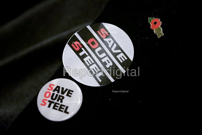 Save Our Steel badges, rally, Sheffield City Hall, Yorkshire - Mark Pinder - 2015-11-21
