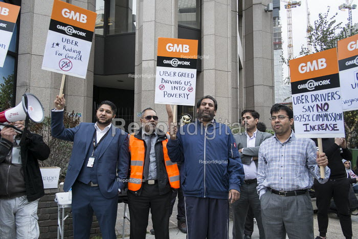 GMB London Uber drivers protest at increased commission rates and price cuts outside Uber London HQ. - Philip Wolmuth - 2015-11-12