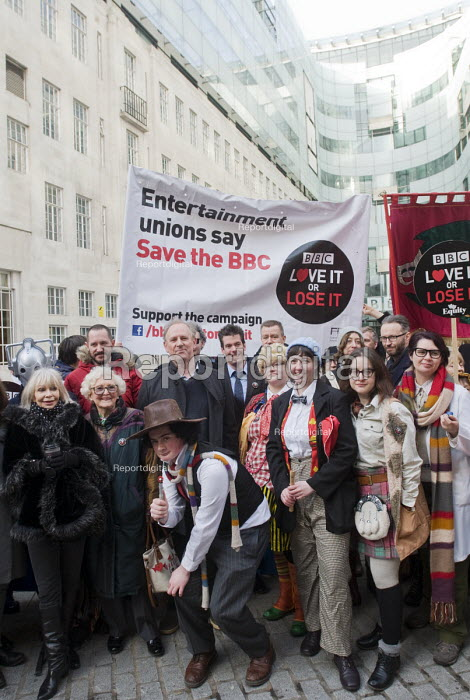 BBC Love It or Lose It Campaign. Fans of BBC TV programme Dr Who protest in support of the BBC outside Broadcasting House. Ex-Time Lord, Peter Davison (above man with hat) joins the protestors, some of them dressed as characters from the long runnning show. - Stefano Cagnoni - 2015-11-23