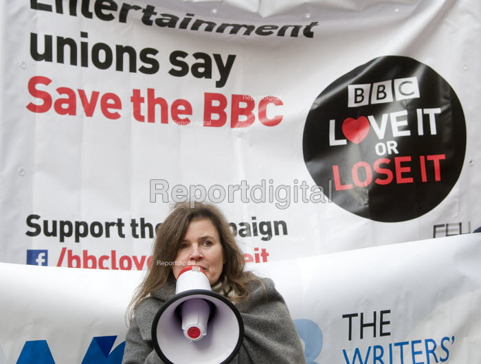 BBC Love It or Lose It Campaign. Fans of BBC TV programme Dr Who protest in support of the BBC outside Broadcasting House, London. Sophie Aldred an actor in the long running tv show, speaking to the protest. - Stefano Cagnoni - 2015-11-23