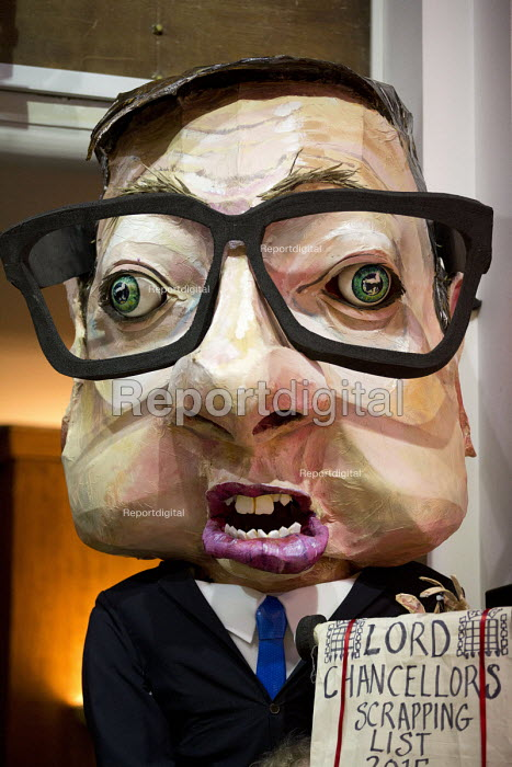 Michael Gove puppet. Voices for Justice - Save Legal Aid, Justice Alliance rally. Conway Hall. London. - Jess Hurd - 2016-01-06