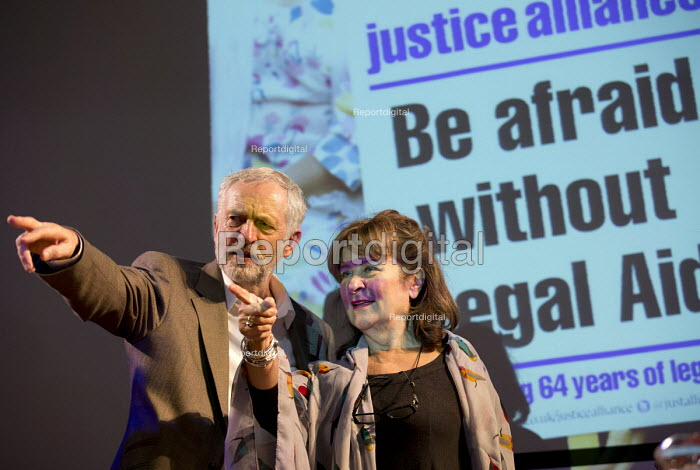 Jeremy Corbyn MP and Baroness Helena Kennedy. Voices for Justice - Save Legal Aid, Justice Alliance rally. Conway Hall. London. - Jess Hurd - 2016-01-06