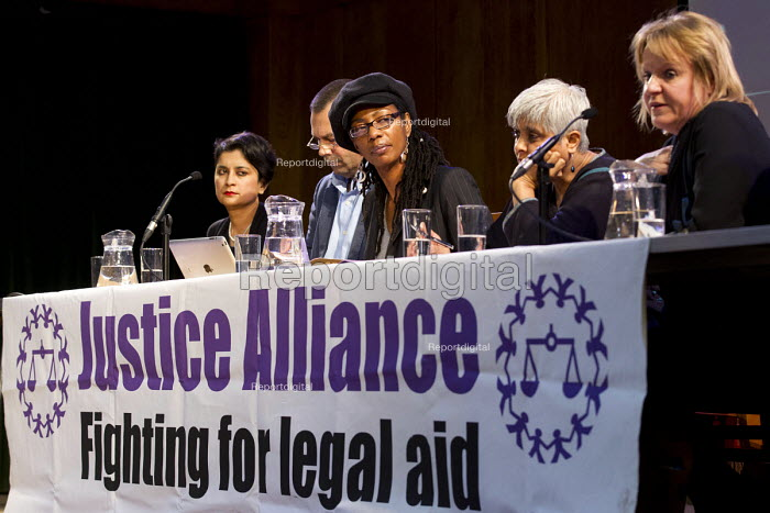 Marcia Rigg, sister of Sean Rigg speaking Voices for Justice - Save Legal Aid, Justice Alliance rally. Conway Hall. London. - Jess Hurd - 2016-01-06