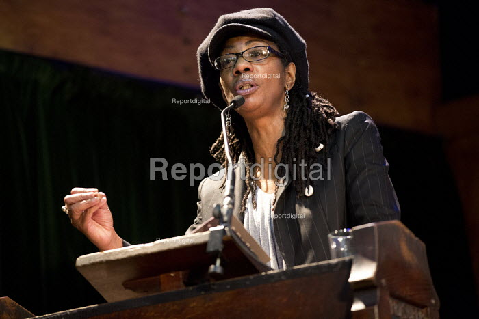 Marcia Rigg, sister of Sean Rigg speaking, Voices for Justice - Save Legal Aid, Justice Alliance rally. Conway Hall. London. - Jess Hurd - 2016-01-06