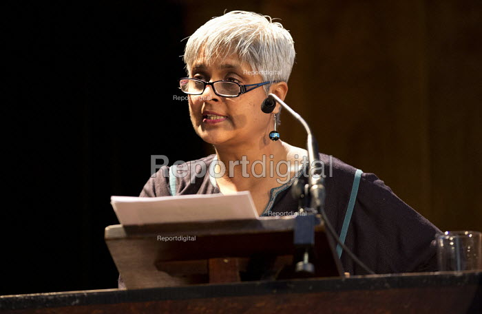 Pragna Patel, Southall Black Sisters, speaking. Voices for Justice - Save Legal Aid, Justice Alliance rally. Conway Hall. London. - Jess Hurd - 2016-01-06