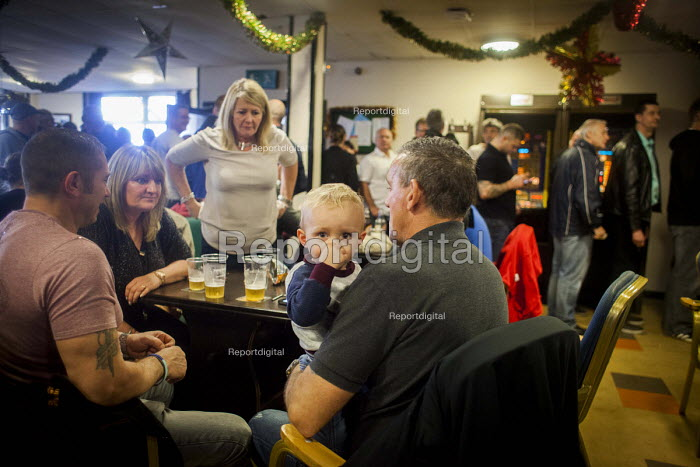 Miners and families enjoying a drink and socialising. Protest by miners and supporters the day after Kellingley colliery closed down, West Yorkshire. - Connor Matheson - 2015-12-19