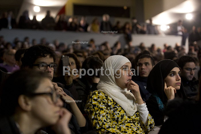 Meeting on Islamophobia with Salma Yaqoob in St Denis during the wake of the terrorist attacks. Paris, France. - Jess Hurd - 2015-12-11