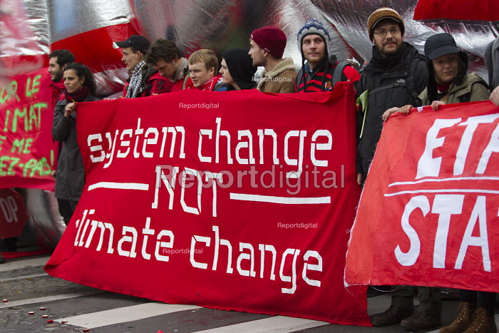 Red Lines climate change protests COP21 Climate Summit, Paris, France. System change not climate change - Jess Hurd - 2015-12-12