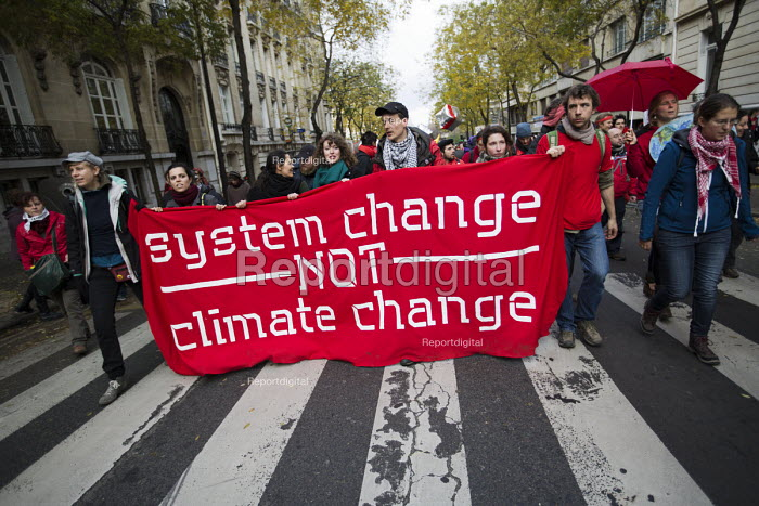 Red Lines climate change protests COP21 Climate Summit. Paris, France. System change not climate change - Jess Hurd - 2015-12-12