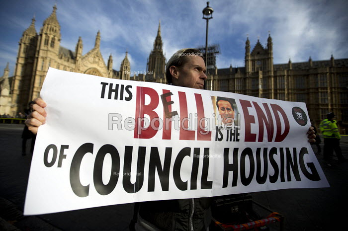 Council housing activists protest against the Housing Bill. Westminster. London. This is the Bill End of Council Housing - Jess Hurd - 2016-01-05