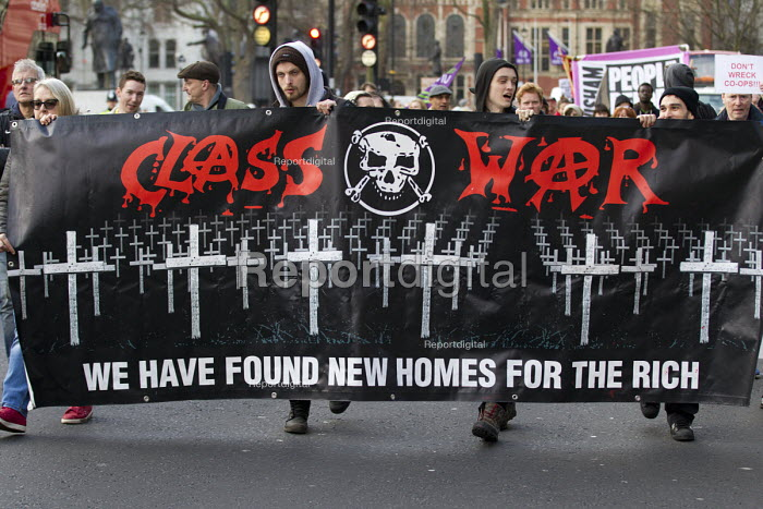 Class War. Council housing activists protest against the Housing Bill. Westminster. London. We have found new homes for the rich - Jess Hurd - 2016-01-05