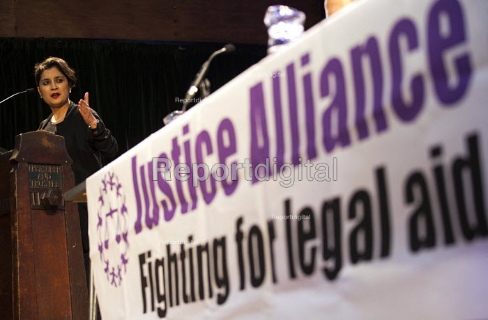 Shami Chakrabarti, director of Liberty speaking Voices for Justice - Save Legal Aid, Justice Alliance rally. Conway Hall. London. - Jess Hurd - 2016-01-06