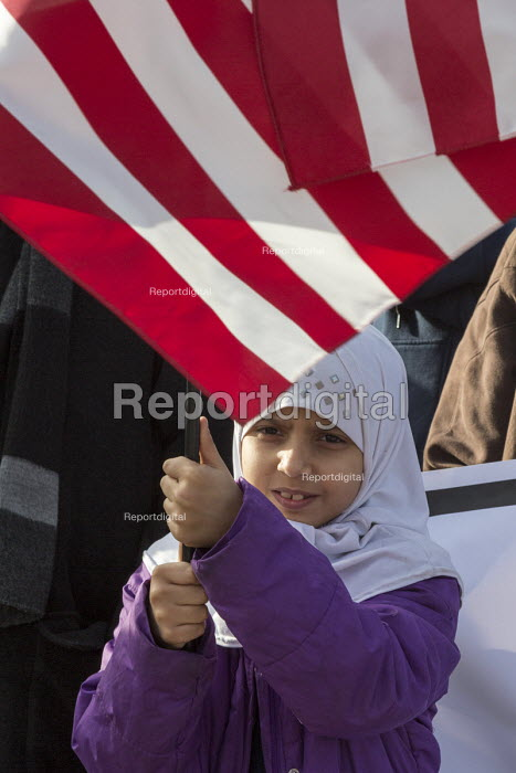 Michigan, USA Muslims rally to condemn ISIS and terrorism, Hamtramck City Hall. The rally was attended by immigrants from Bangladesh and Yemen - Jim West - 2015-12-11