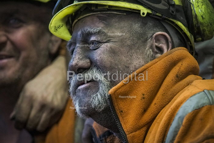 Miners coming off the last shift in the lamp room. Closure of the last British deep coal mine, Kellingley Colliery.Last ever shift ending, Yorkshire - Mark Pinder - 2015-12-18