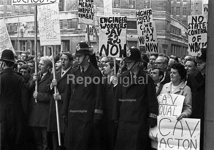 AEU lobby the annual engineering pay talks, Tothill Street, London April 1968 - NLA - 1968-04-10