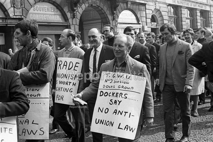 Protest and national strike against Labour Government plan to reform industrial relations In Place of Strife, london - NLA - 1969-05-01