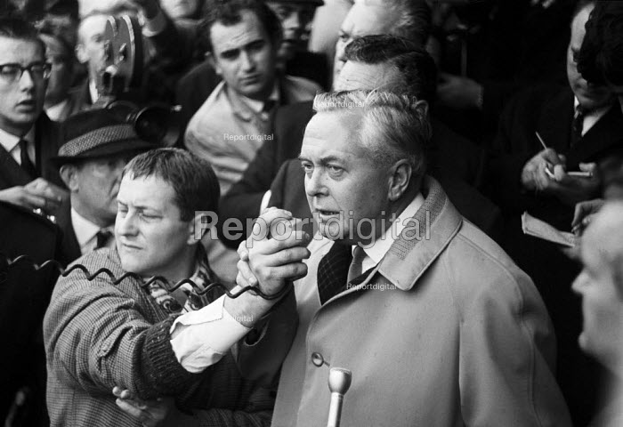 Harold Wilson speaking to lobby of BMC (later BL) car workers concerned abour sackings, Labour Party Conference 1968 - NLA - 1968-10-06