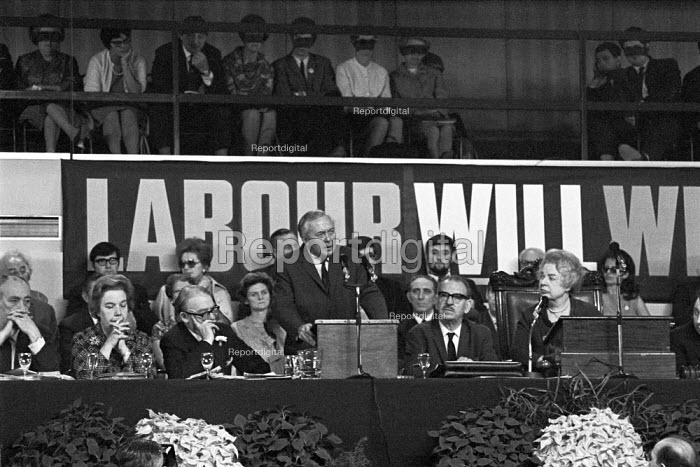 Harold Wilson speaking with Labour Will Win slogan behind, Labour Party Conference 1969 - NLA - 1969-09-30