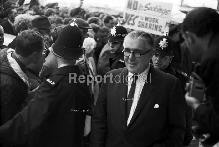 Dick Crossman MP, lobby of BMC (later BL) car workers concerned abour sackings, Labour Party Conference 1968 - NLA - 1968-10-06